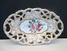 SALE  C. Tielsch Antique Reticulated Oval Bowl, Germany 1850-1899