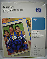 Hp PREMIUM GLOSSY PHOTO PAPER 8.5X11in. 15 SHEETS NEW OPEN PACKAGE