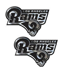 2pc NFL Los Angeles Rams 3-D Chrome Plastic Auto Car Truck Emblem Made in USA