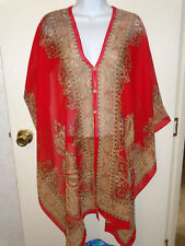 women's red/tan scarf sheer top open front/open back buttons size L/XL/XXL