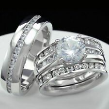 Diamond Trio Set Matching Engagement Ring 14K White Gold Over Wedding Band