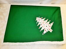Vtg Mcm Handmade Christmas Tablecloth Felt Sequin Tree on Green w/Fringe 45x62