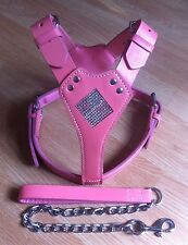Blling Pink Leather Harnesses+chain  Staffordshire,Bull Terrier,English Bull