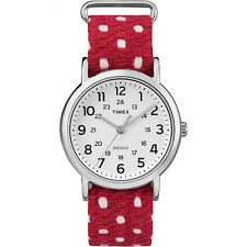Timex Weekender Unisex Red White Fabric Silver Steel Polka Dot Watch TW2R10400