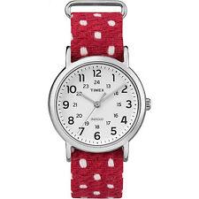 Timex Weekender Unisex Red White Fabric Slip Thru Indiglo Watch TW2R10400 NEW