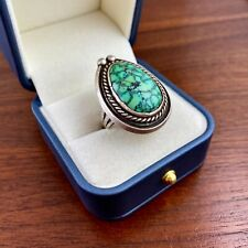 HUGE NATIVE AMERICAN STERLING SILVER CARICO LAKE TURQUOISE MEN'S RING BY JAB