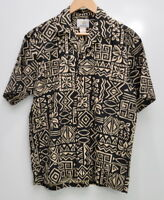 Ho Aloha Hawaiian Camp Shirt Men's Size Medium Cotton Short Sleeve Black Beige
