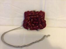 Brighton Pouch Clutch Rose Purse with Silver Chain