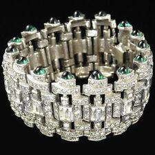 KTF Trifari Philippe Pave Baguettes and Emerald Cabochons Wide Deco Bracelet
