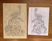 THE DARKNESS ORIGINAL ART SET OF 2 by GIORGIO COMOLO IMAGE COMICS WITCHBLADE