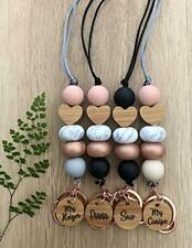 Personalised rose gold teacher ID Lanyard Badge Cruise heart bead With Neutrals