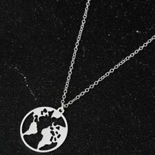 """Globe World Map Necklace Silver Earth Pendant on Stainless Steel Choker 15.5"""""""