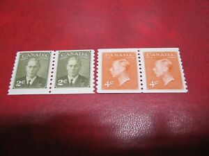 """CANADA Unitrade# 309-10  KING GEORGE VI WITH """"POSTES-POSTAGE""""  COIL PAIR VF MNH"""