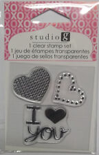 2  Hearts, I Love You   Valentines Day  Clear Acrylic Stamps Free Shipping  NIP