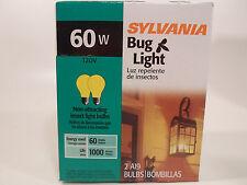 Yellow Bug Light Bulb 60W Watt Sylvania 2 Pack Outdoor Porch Non-attracting 60
