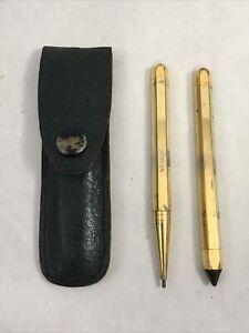 Vintage Amber Stone Gold Tone Pocket Pen & Mechanical Pencil Set Leather Pouch