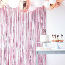 Pink Foil Tinsel Fringe Curtain Photo Backdrop Baby Shower Party Decoration 2.2m