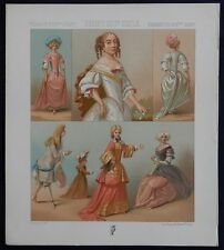 "11) Gravure couleurs ancienne (FIRMIN-DIDOT) ""FRANCE XVIIè"" (costumes-MODE..)"