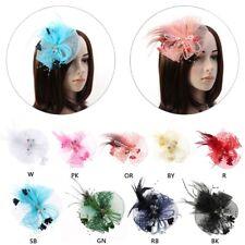 Veil Mesh Tube Feather Fascinator Elegant Hat Sweet Flower Derby Rhinestone Clip