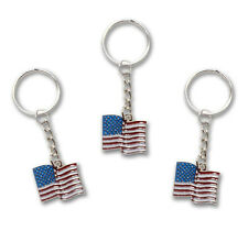 6 Pack ** USA American Flag Patriotic All Metal Keychain / Key Ring