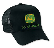 NEW John Deere Black Twill Covered Foam Front Mesh Back Cap JD Hat LP14413
