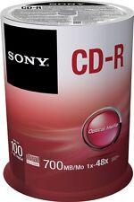 100 Sony Rohlinge CD-R 80Min 700MB 48x Spindel
