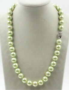 each knot 12 mm southsea summer green shell pearl necklace 20 inch
