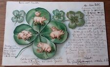 Early Greetings Pigs / clover Postcard Posted 1905