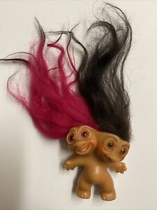 Vintage 1965 Two Headed Uneeda Troll Doll Pink And Brown Hair💥 RARE!!