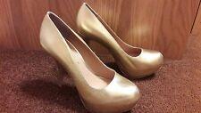Office Gold  High Heel Platform Court Shoes