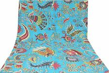 Indian Queen Cotton Bedspread Mukut Print Kantha Quilt,Blanket,Bed Covers Throw@