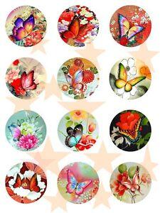 12 Nostalgie Schmetterlinge Esspapier Zuckerpapier Fondant Kuchen Muffin E2