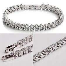 Ladies Crystal Bracelet Roman Chain Clear Zircon Bangle With Box