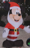 NEW GEMMY Disney MICKEY MOUSE Santa Lighted Christmas Airblown Inflatable