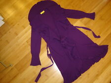 St John sz S M purple sweater coat deep ruffles tie belt