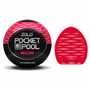 Zolo Pocket Pool 8 Ball Male Discreet Travel Masturbator Stimulator Sleeve Red