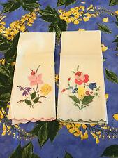 Set of 2 Vintage Hand Embroidered Floral Finger Tip Hand Towels New
