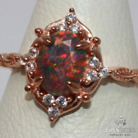 Authentic Fire Opal Ring Women Wedding Jewelry Gift 925 Sterling Silver Size 6.5