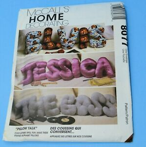 vtg Mccall's 8077 sewing pattern for LETTERS as Pillows FF UC