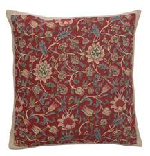 Belgian Tapestry Decorative Throw Pillow Cushion Cover 18x18 Fleurs De Morris