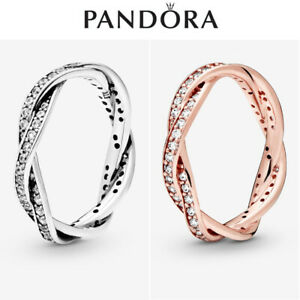 ALE S925 Genuine Silver Pandora Sparkling Twisted Lines Ring With Gift Box