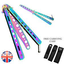 *UK Seller* Rainbow Trainer Steel Butterfly Knife Balisong Practice Blunt Toy