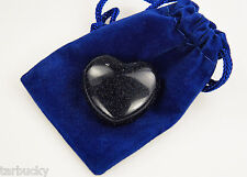 BLUE GOLDSTONE Pocket HEART 30mm Puffy stone free pouch  #1130-M
