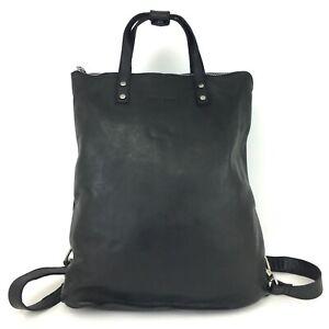 Bull & Hunt Leder Rucksack Shopper Umhängetasche Laptopfach 2in1 schwarz