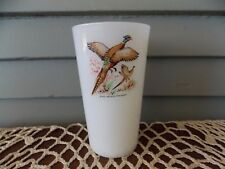 "Vtg Fire King White Milk Glass 5"" Tall Tumbler Game Bird Ring Necked Pheasant"