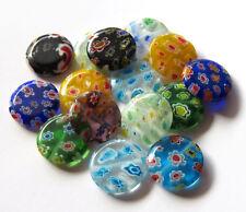 30pcs 16x3.75mm Millefiori Glass Flat Round Wafer Beads - Mixed Colours