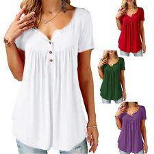 Shirt Tunic V-Neck Women's Loose Top Short Sleeve T-Shirt Pleated Blouse