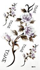 King Horse Light Purple Rose Temporary Tattoos HM191 New Arrival!!