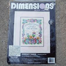 "Dimensions Grandma's Garden 11"" x 14"" Cross Stitch Kit NWT 1995"