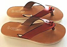 Spot On Orange Faux Leather toe-post Sandals, New with box. Size 3 UK, 36 EU.